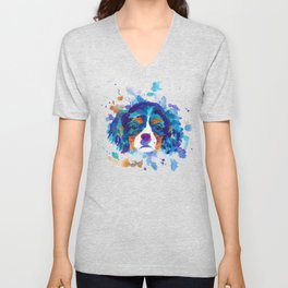 The cavalier king Charles Spaniel portrait in blue Unisex V-Neck