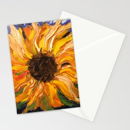 Fiery Sunflower - Original Painting Stationery Cards