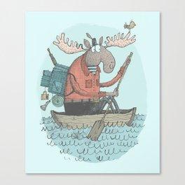 'Moose Canoe' (Color) Canvas Print