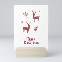 Merry Christmas Greeting White Mini Art Print