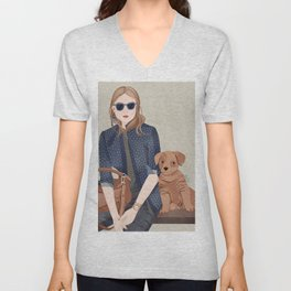 Lady In A Blue Blazer With A Puppy Unisex V-Neck