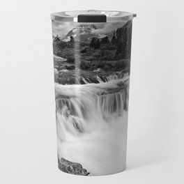 Mountain Paradise in Black and White Travel Mug