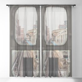 Loop Bound - Chicago El Photography Sheer Curtain