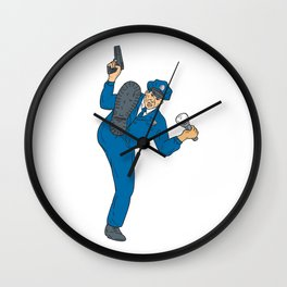 Policeman Gun Flashlight Torch Kicking Drawing Wall Clock