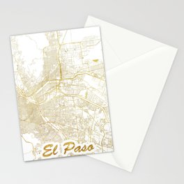 El Paso Map Gold Stationery Cards