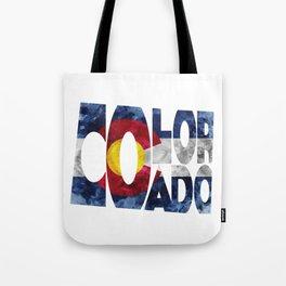 Colorado Typographic Flag Map Art Tote Bag