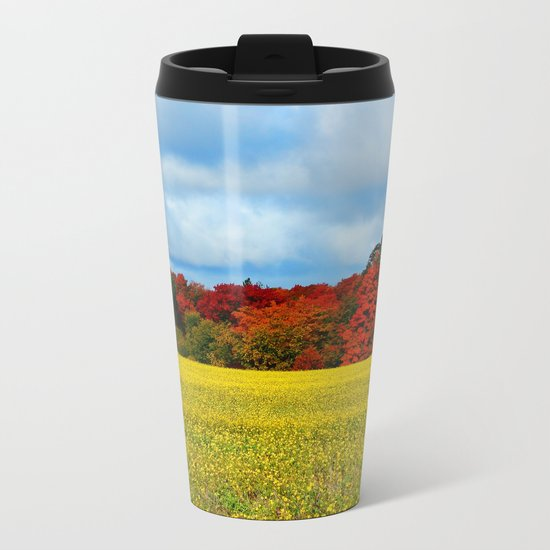 Blue Red Yellow Green and White Metal Travel Mug