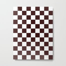Checkered - White and Dark Sienna Brown Metal Print