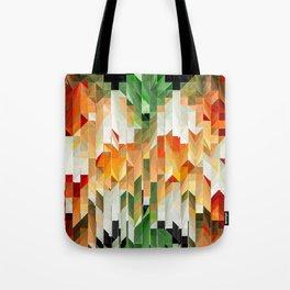 Geometric Tiled Orange Green Abstract Design Tote Bag