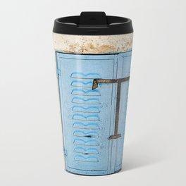 Vibrant Blue Window in Stone Wall Metal Travel Mug