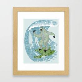 Surfin' Sloth Framed Art Print