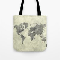 vintage map Tote Bags featuring World Map Black Vintage by City Art Posters