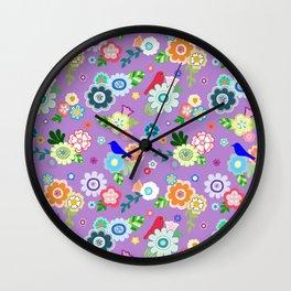 Whimsical Flowers & Birds in Purple Wall Clock