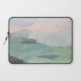 Seafoam Green Mint Black Blush Pink Abstract Nature Land Art Painting Laptop Sleeve