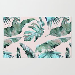 Tropical Palm Leaves Turquoise Green Coral Pink Rug