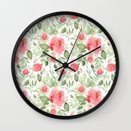 Painted Watercolour Garden Red Roses Wall Clock