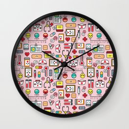 Proud To Be A Nurse pattern in pink Wall Clock