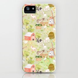 Farm Animal Friends on Green iPhone Case