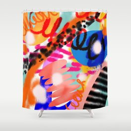 Grell 002 / A Composition Of Abstract Graffiti Shapes Shower Curtain