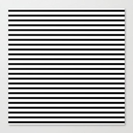 White Black Stripe Minimalist Canvas Print