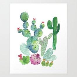 Watercolor Cacti bold Art Print