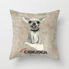 Danger! Chihuahua. Throw Pillow