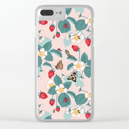 Strawberry Patch Pattern Clear iPhone Case
