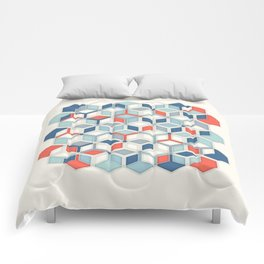 Soft Red, White & Blue Hexagon Pattern Play Comforters