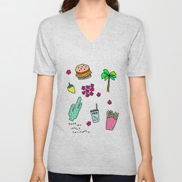 Dear My Lovely California - Burger Cactus Palm Tree Tropical Pattern Unisex V-Neck