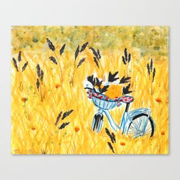 Bicycle in the field Canvas Print