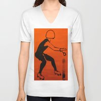 pivot V-neck T-shirts featuring Manhattan Mayhem by JezRebelle