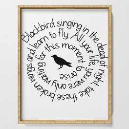 Blackbird Singing In The Dead Of Night T shirt Serving Tray