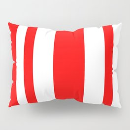 Mixed Vertical Stripes - White and Red Pillow Sham