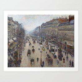 Camille Pissarro  -  Boulevard Montmartre  Morning  Cloudy Weather Art Print