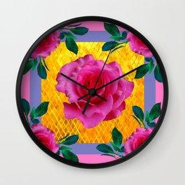 5 Lipstick Pink Full Roses Gold Mosaic Pattern Art Wall Clock