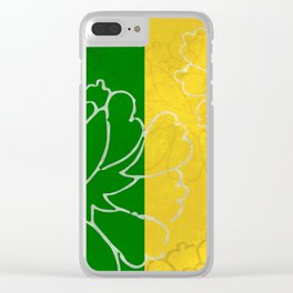 Chinese Flowers & Stripes - Purple Yellow Green Blue Clear iPhone Case