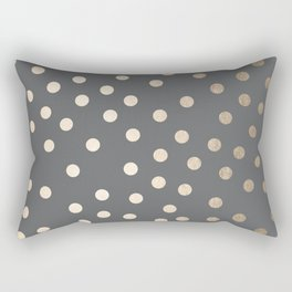 Simply Dots White Gold Sands on Storm Gray Rectangular Pillow