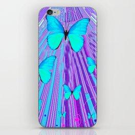 MIGRATING NEON BLUE BUTTERFLIES & PURPLE  ART iPhone Skin