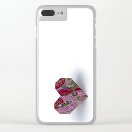 Origami Valentine's Day Heart on White Background Clear iPhone Case