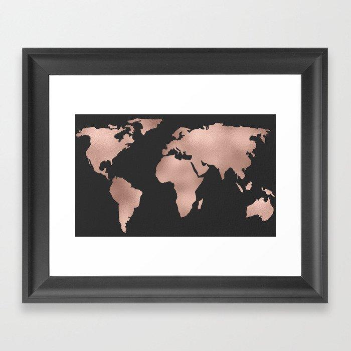 Rose gold world map on dark gray framed art print by mapmaker society6 rose gold world map on dark gray framed art print gumiabroncs Image collections