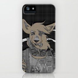 Hipster Fox mixed media digital art collage iPhone Case