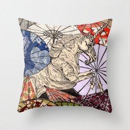 Unicorn Amongst Umbrellas XVII Throw Pillow