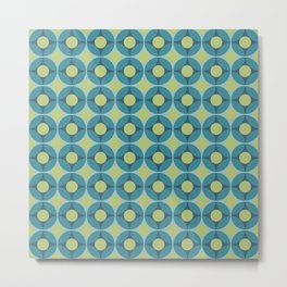 Geometric Circle Pattern Mid Century Modern Retro Blue Green Metal Print