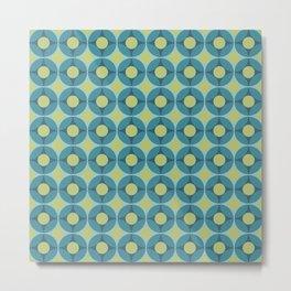 Geometric Circle Pattern Mid Century Modern Retro Blue Green Metal Print