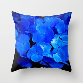 Deep Blue Hydrangea Throw Pillow