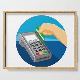 Hand Swiping Credit Card on POS Terminal Retro Serving Tray