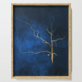 Kintsugi Electric Blue #blue #gold #kintsugi #japan #marble #watercolor #abstract Serving Tray