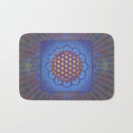 Flower Of Live Lotus - Golden Shine On Blue Beauty II Bath Mat