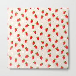 Strawberry Pattern- Cream Background Metal Print