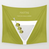 alcohol Wall Tapestries featuring Martini - Alcohol by Stacia Elizabeth